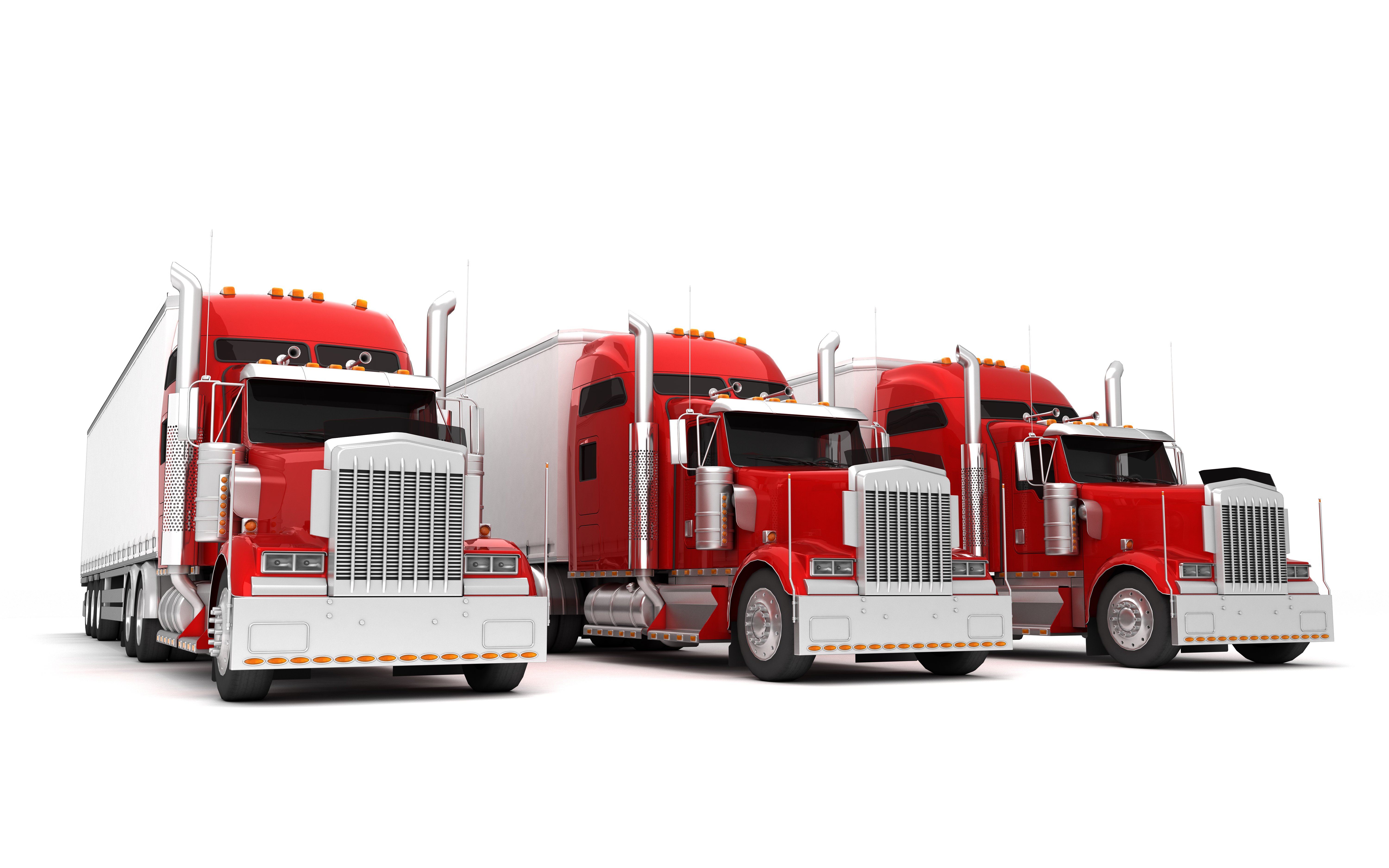 three red semis lined up